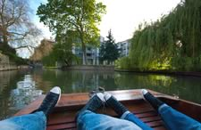 Punts on the river in Cambridge