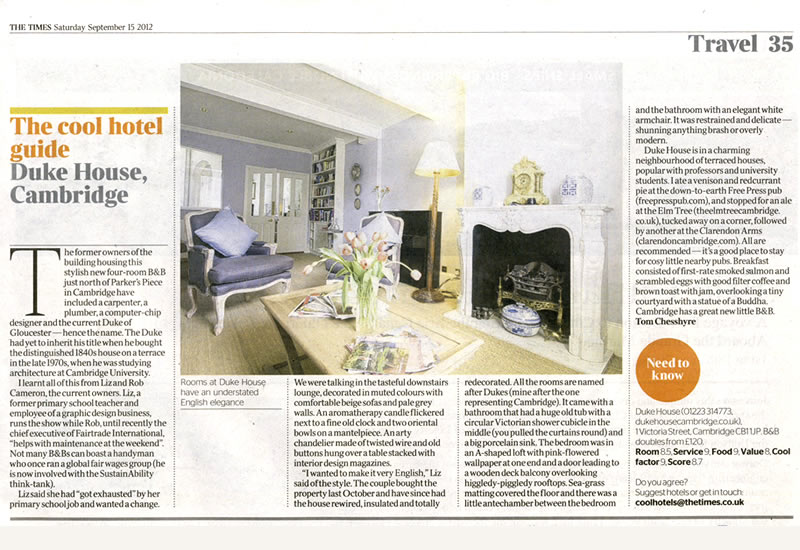 Times Cool Hotel Article | Duke House | City Centre Boutique Bed and Breakfast | Duke House, Cambridge, UK