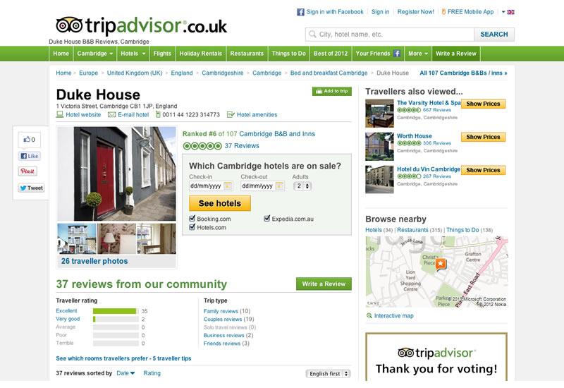 Trip Advisor Screenshot | Duke House | City Centre Boutique Bed and Breakfast | Duke House, Cambridge, UK